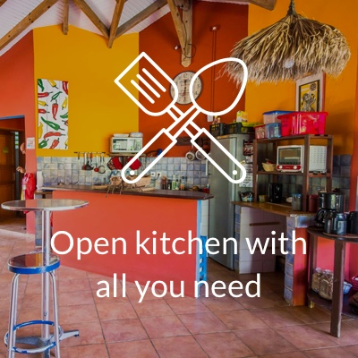 Open kitchen in Surf Camp in guadeloupe